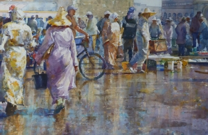 WYNNE Geoffrey - ESSOUIRA FISH MARKET - Watercolour 55X85cm