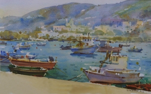 The Frank Herring Easel Award. Geoffrey Wynne RI 'Greek Sketches Syros'